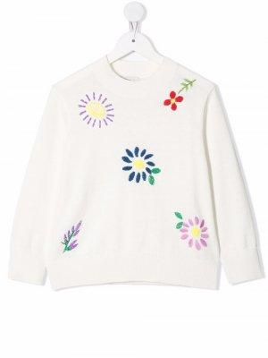 Floral embroidered jumper Stella McCartney Kids. Цвет: белый