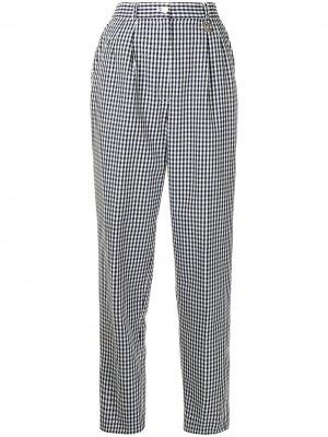 Зауженные брюки pre-owned в клетку гингем Christian Dior. Цвет: синий