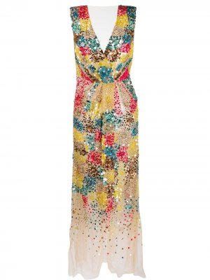 Коктейльное платье с пайетками Elisabetta Franchi. Цвет: нейтральные цвета
