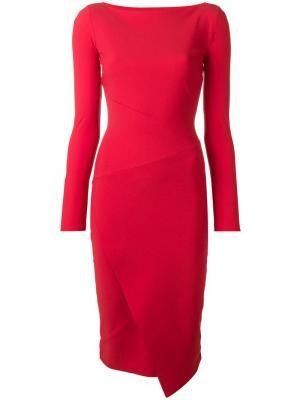 Облегающее платье с длинными рукавами Le Petite Robe Di Chiara Boni. Цвет: красный