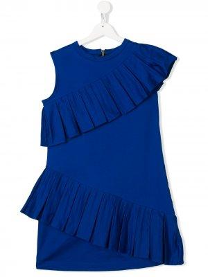 Платье с оборками Balmain Kids. Цвет: синий