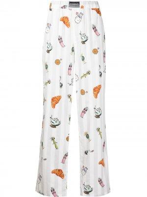 Пижамные брюки с принтом VETEMENTS. Цвет: белый