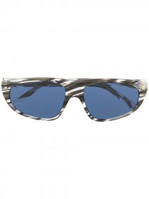 Солнцезащитные очки в полоску Balenciaga Eyewear. Цвет: черный