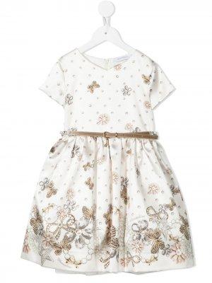 Платье с принтом Monnalisa. Цвет: коричневый