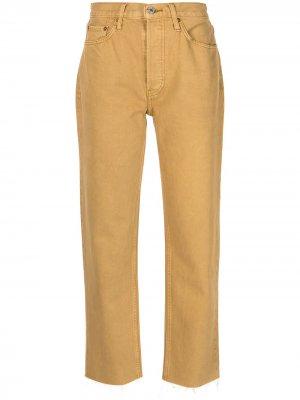 Укороченные брюки кроя слим RE/DONE. Цвет: желтый