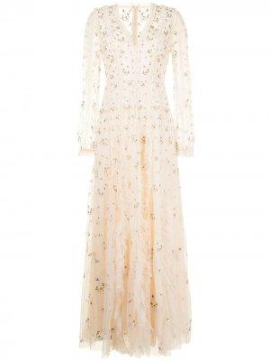 Платье Frieda с цветочной вышивкой Needle & Thread. Цвет: нейтральные цвета