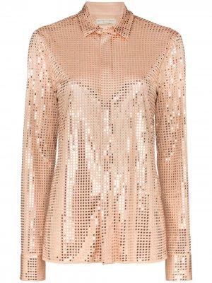 Рубашка на пуговицах с заклепками Bottega Veneta. Цвет: нейтральные цвета
