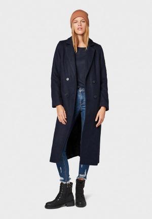 Пальто Tom Tailor Denim. Цвет: синий