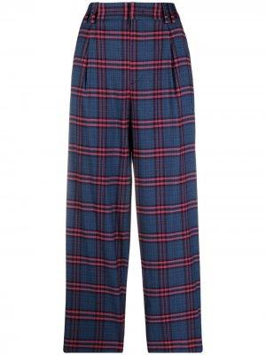 Прямые брюки в клетку тартан Pt01. Цвет: синий