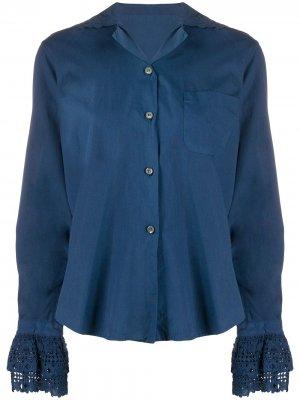 Рубашка 1990-го года с кружевом Romeo Gigli Pre-Owned. Цвет: синий
