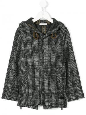 Твидовое пальто с капюшоном Paolo Pecora Kids. Цвет: серый