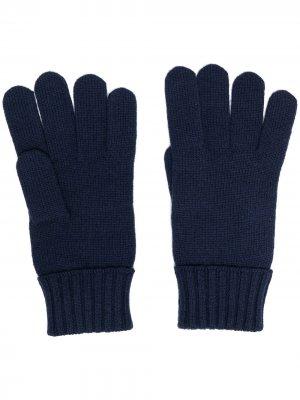 Перчатки с вышивкой Lacoste. Цвет: синий
