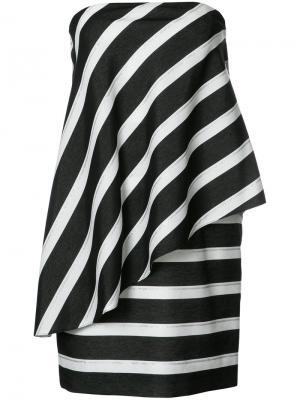 Платье без бретелей с драпировкой Halston Heritage. Цвет: чёрный