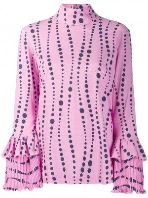 Блузка с оборками на рукавах La Doublej. Цвет: розовый