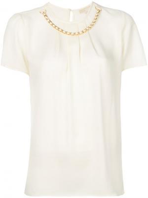 Блузка с цепочкой Michael Kors. Цвет: нейтральные цвета