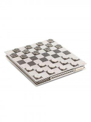 Набор для игры в шашки с кристаллами Rosantica. Цвет: серебристый