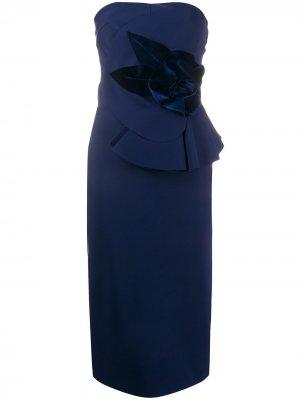 Платье миди Hebe без бретелей Le Petite Robe Di Chiara Boni. Цвет: синий
