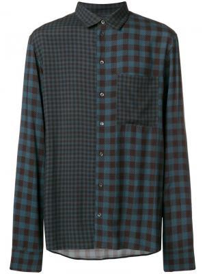 Double-check pattern shirt Qasimi. Цвет: синий