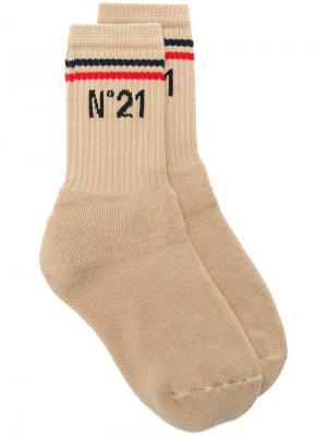 Носки с логотипом Nº21. Цвет: телесный