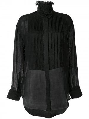 Рубашка Obsidian с плиссировкой Karen Walker. Цвет: черный
