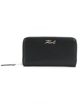 Кошелек на молнии K/Signature Karl Lagerfeld. Цвет: черный