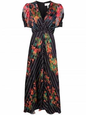 Платье с цветочным принтом Saloni. Цвет: черный