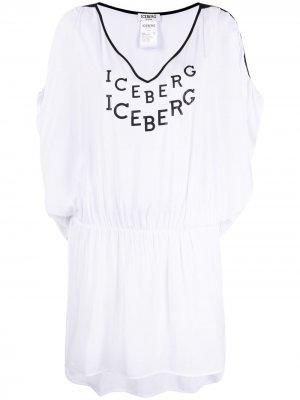 Пляжное платье с логотипом Iceberg. Цвет: белый