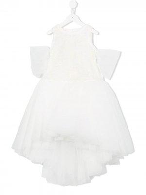 Тюлевое платье с вышивкой Loredana. Цвет: белый