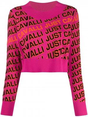 Укороченный трикотажный джемпер с логотипом Just Cavalli. Цвет: розовый