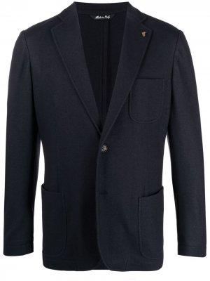 Кашемировый однобортный пиджак Colombo. Цвет: синий