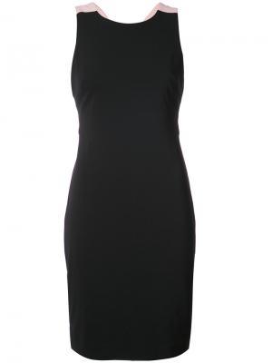 Приталенное платье с бантом Badgley Mischka. Цвет: чёрный