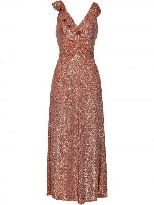 Вечернее платье с оборками и пайетками Pinko. Цвет: нейтральные цвета