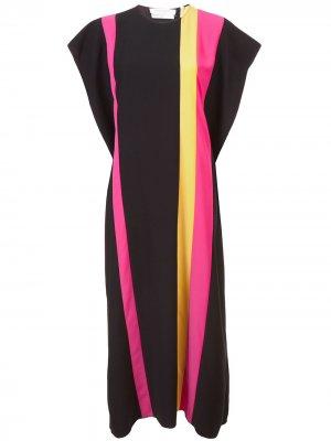 Платье дизайна колор-блок Carolina Herrera. Цвет: черный