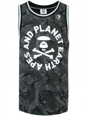 Топ без рукавов с камуфляжным принтом AAPE BY *A BATHING APE®. Цвет: черный