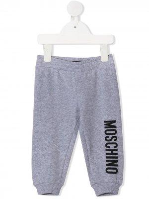 Легинсы с логотипом Moschino Kids. Цвет: серый
