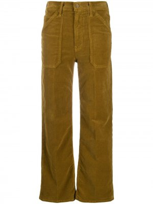 Вельветовые брюки прямого кроя MOTHER. Цвет: коричневый