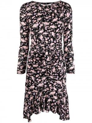Платье асимметричного кроя с цветочным принтом DVF Diane von Furstenberg. Цвет: черный