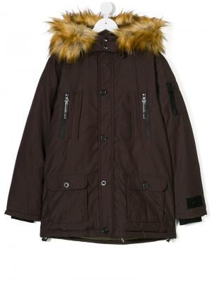 Пальто с капюшоном и искусственны мехом Diadora. Цвет: коричневый