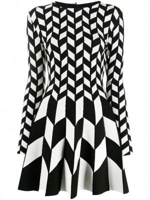 Платье мини с геометричным принтом Oscar de la Renta. Цвет: белый
