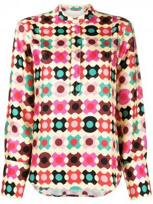 Рубашка с геометричным принтом La Doublej. Цвет: желтый
