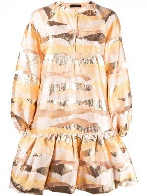 Платье с баской и абстрактным узором Stine Goya. Цвет: оранжевый