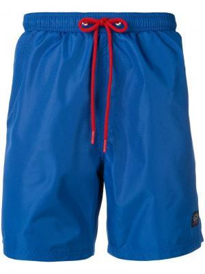 Плавательные шорты с контрастным шнурком Paul & Shark. Цвет: синий
