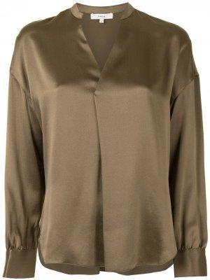 Блузка с воротником-стойкой и V-образным вырезом Vince. Цвет: коричневый