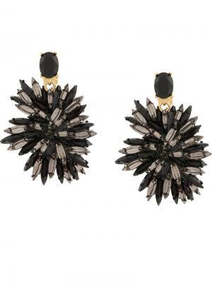 Серьги цветного дизайна с кристаллами Oscar de la Renta. Цвет: черный