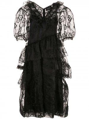 Платье миди из цветочного кружева Simone Rocha. Цвет: черный