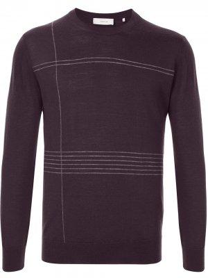 Полосатый пуловер с круглым вырезом Cerruti 1881. Цвет: красный
