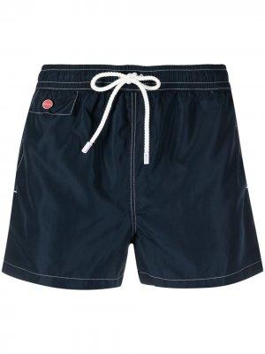 Плавки-шорты с контрастной строчкой Kiton. Цвет: синий