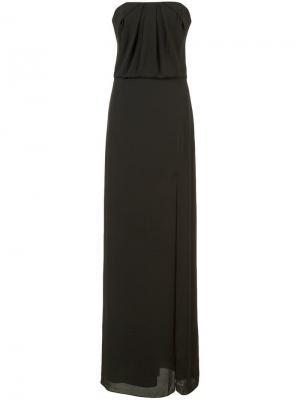 Расклешенное платье без бретелей Halston Heritage. Цвет: черный