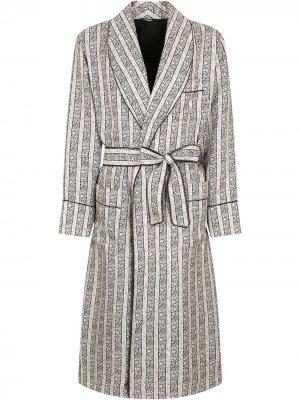 Полосатый халат с поясом Dolce & Gabbana. Цвет: нейтральные цвета