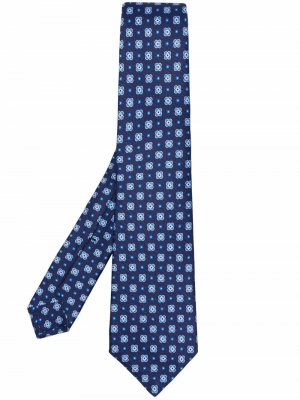 Галстук с вышивкой Kiton. Цвет: синий